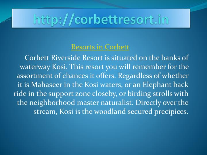 http corbettresort in n.