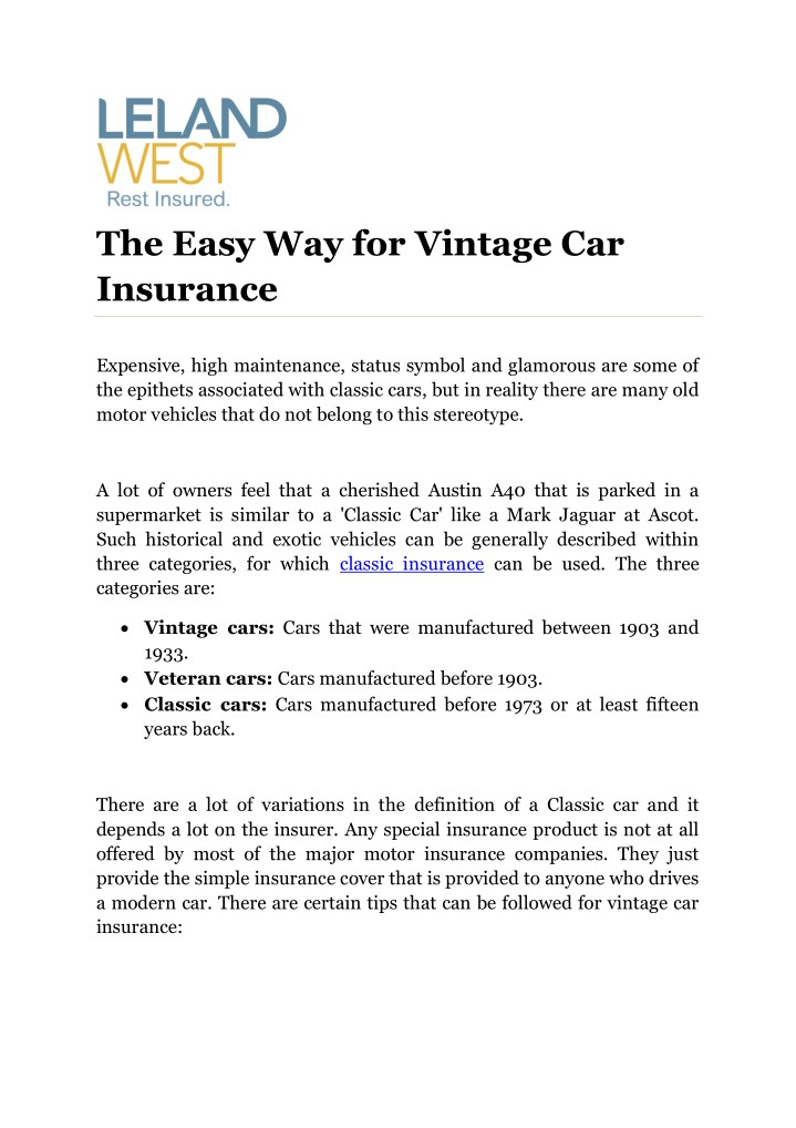 the easy way for vintage car insurance n.
