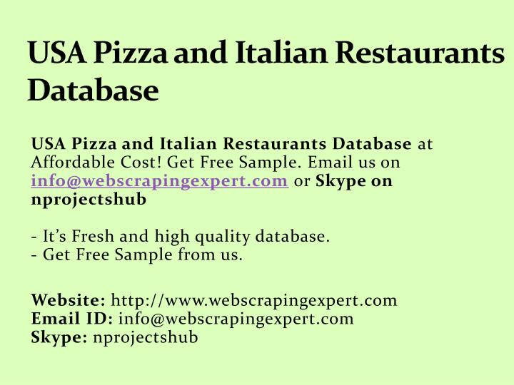 PPT - USA Pizza and Italian Restaurants Database PowerPoint