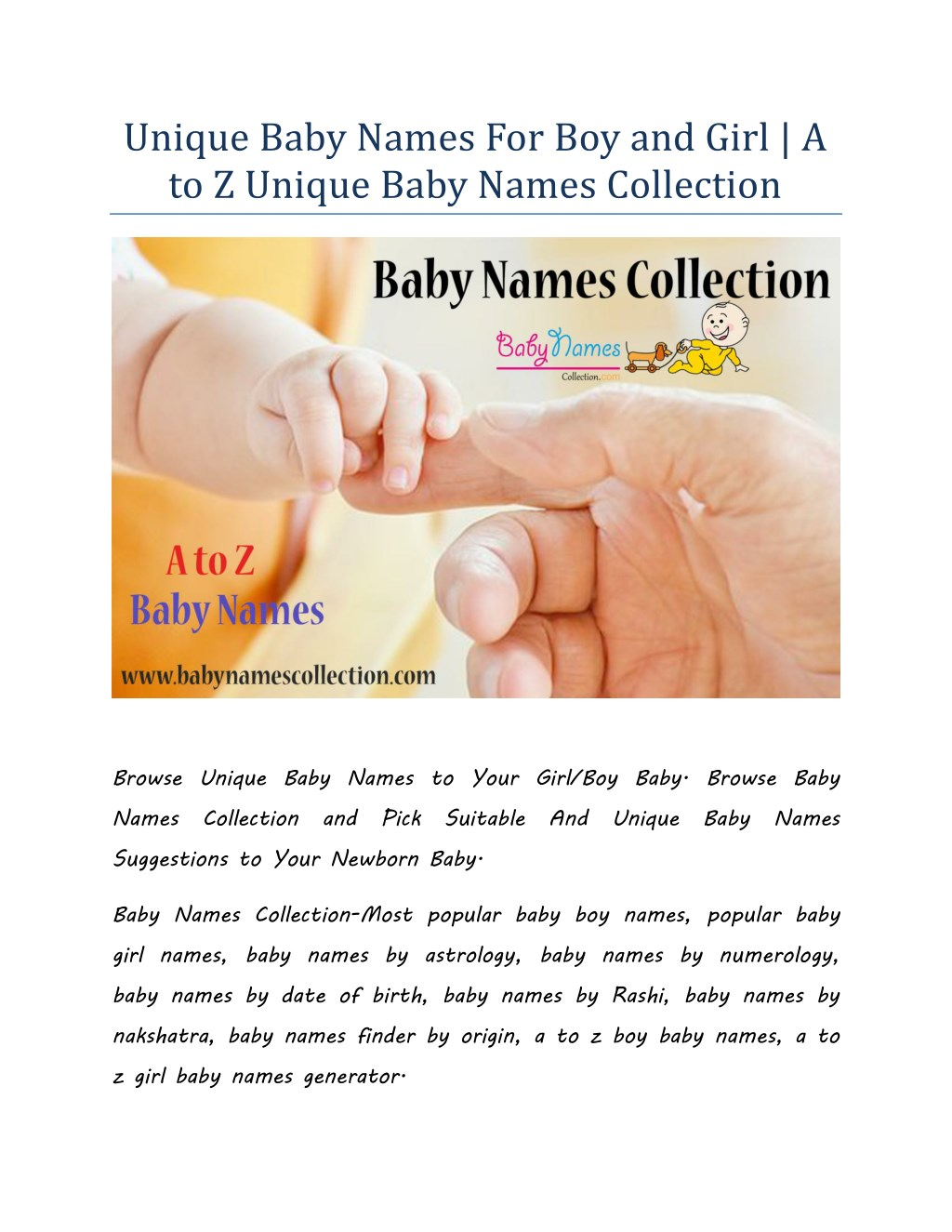 PPT - Unique Baby Names For Boy and Girl | A to Z Unique