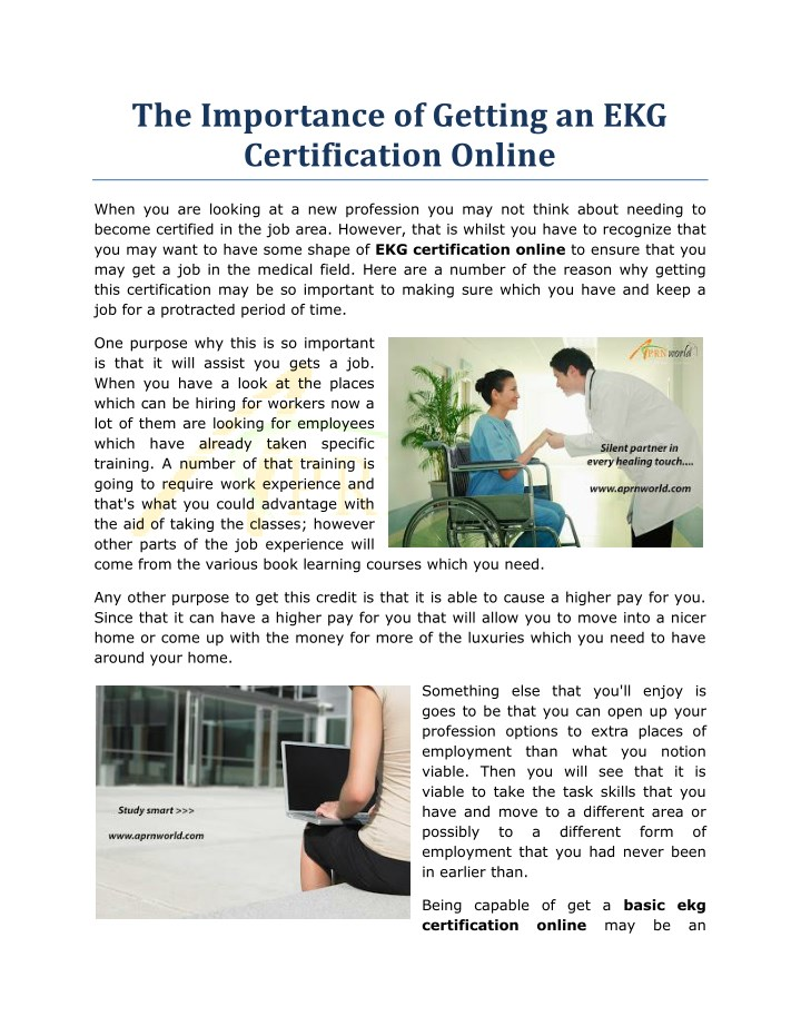 Ppt The Importance Of Getting An Ekg Certification Online