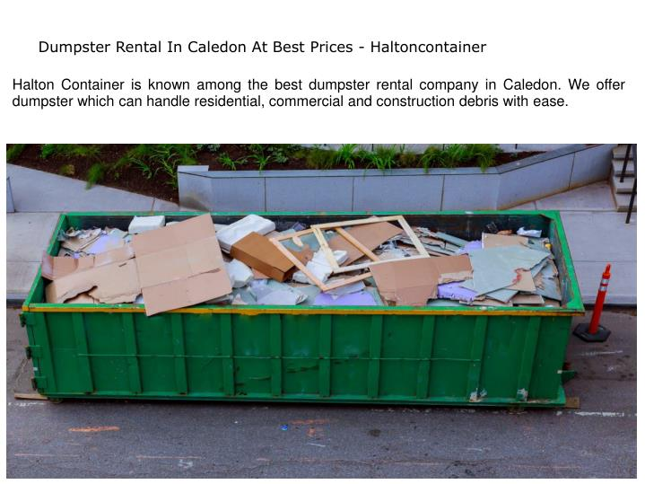 dumpster rental in caledon at best prices n.