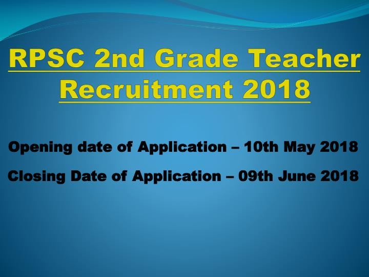 rpsc 2nd grade teacher recruitment 2018 n.