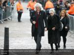 musician brian may and actor anita dobson arrive