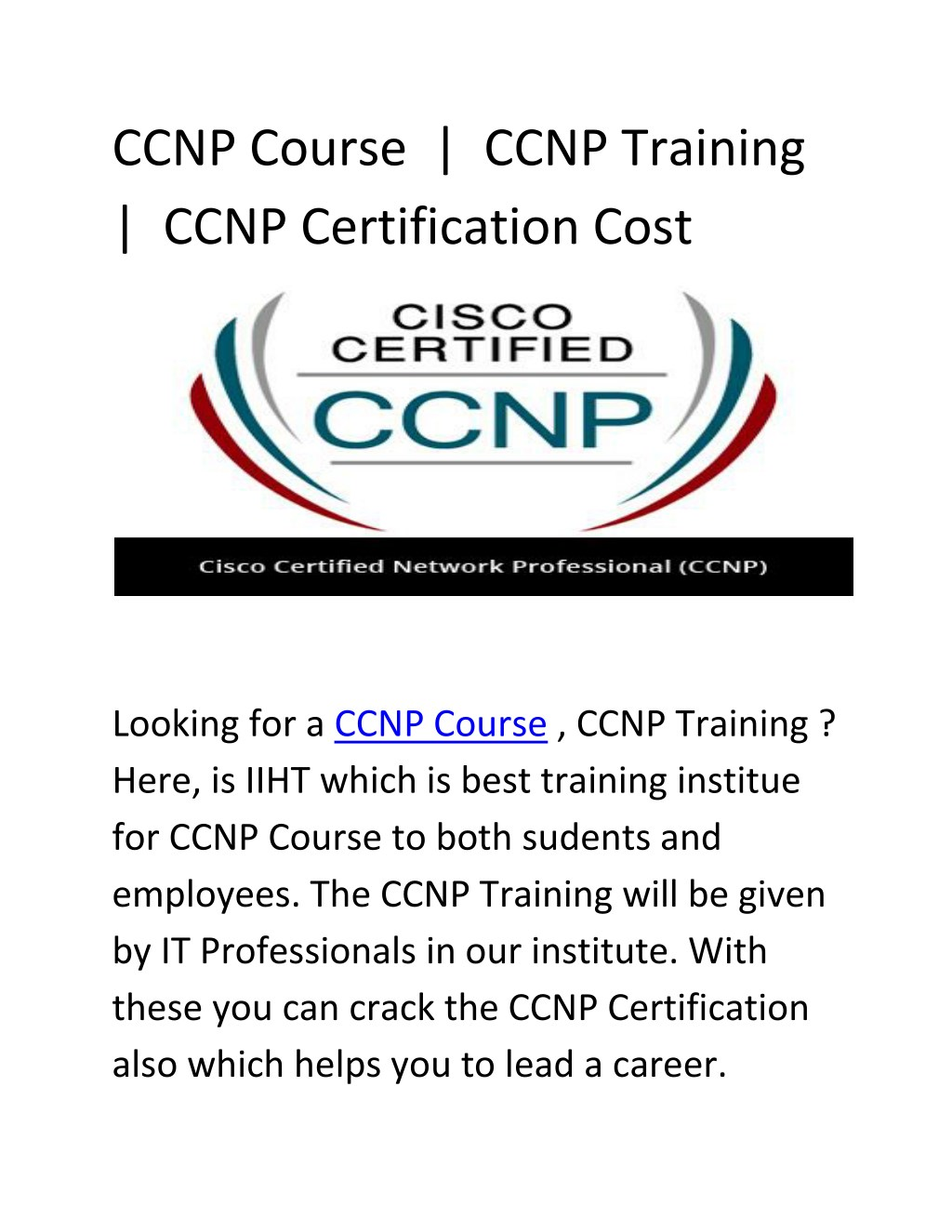 Ppt Ccnp Certification Cost Ccnp Course Ccnp Training