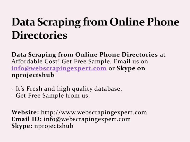 data scraping from online phone directories n.