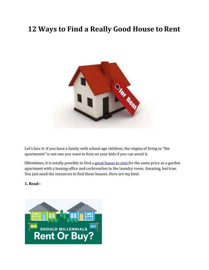 12 ways to find a really good house to rent n.