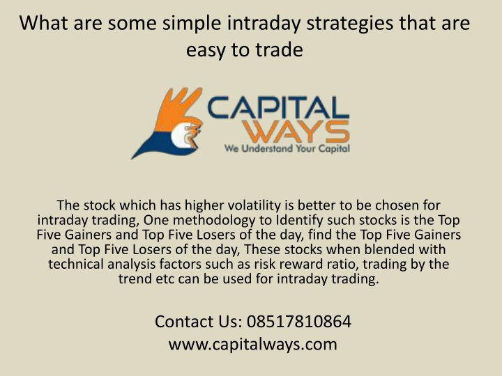 what are some simple intraday strategies that n.