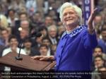 barbara bush acknowledges the cheers from