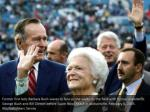 former first lady barbara bush waves to fans