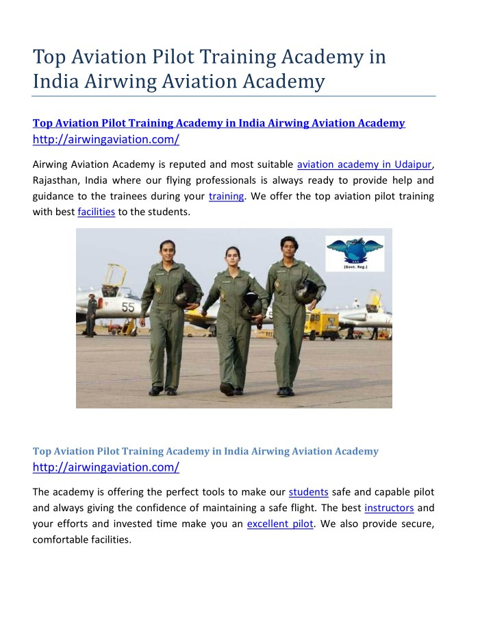 top aviation pilot training academy in india n.
