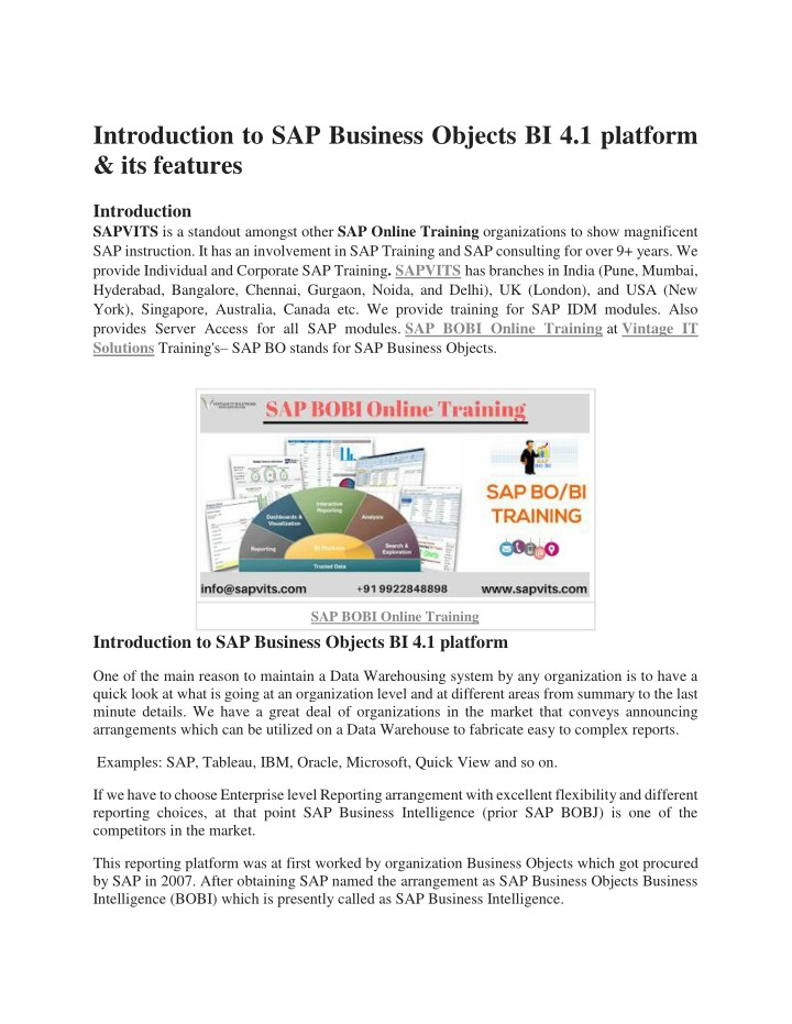 PPT - SAP Business Objects course PDF PowerPoint