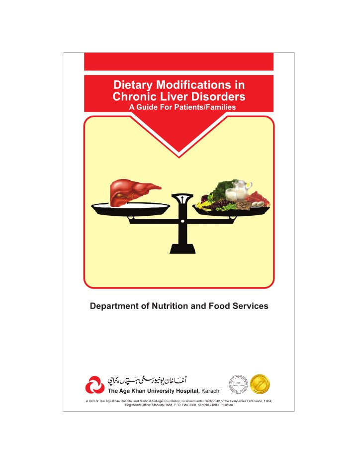 dietary modifications in chronic liver disorders n.