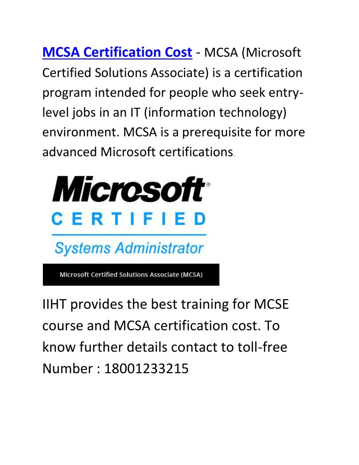 Ppt Mcsa Certification Cost Mcse Course Powerpoint Presentation