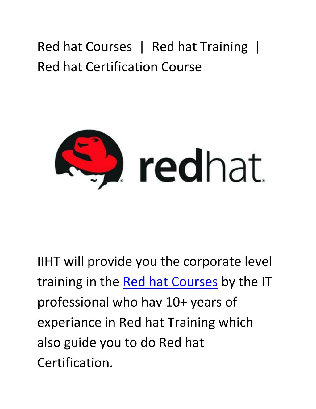 Ppt Red Hat Certification Course Red Hat Courses Red Hat