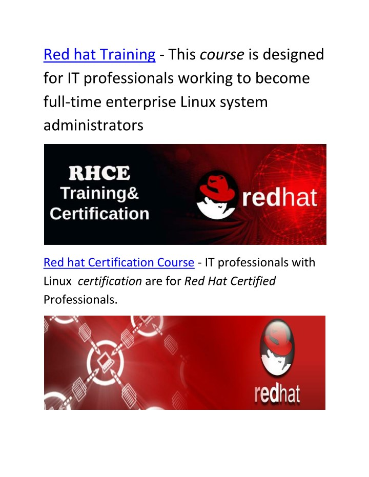 PPT - Red hat Certification Course | Red hat Courses | Red hat ...