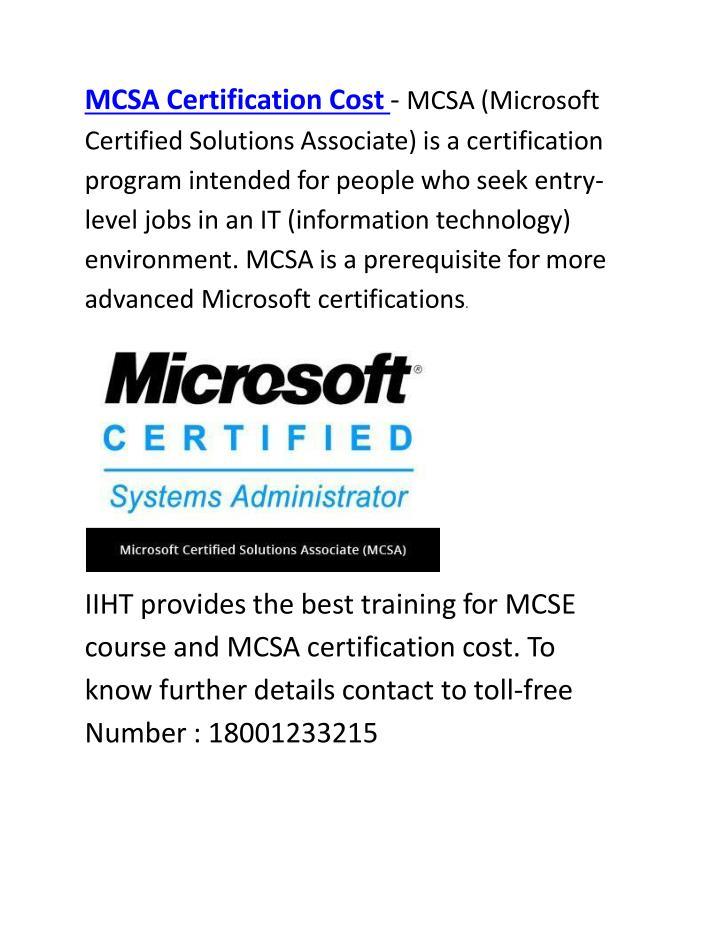Ppt Mcsa Certification Cost Mcse Course Powerpoint Presentation