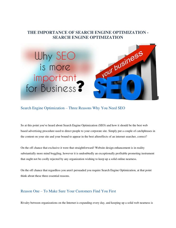 the importance of search engine optimization n.