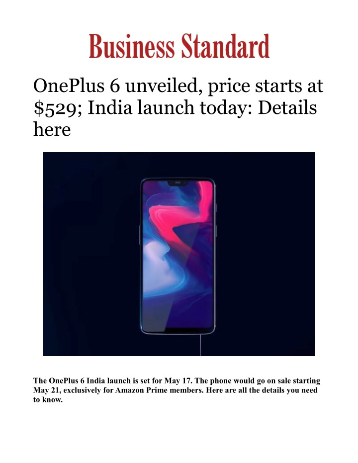 oneplus 6 unveiled price starts at 529 india n.