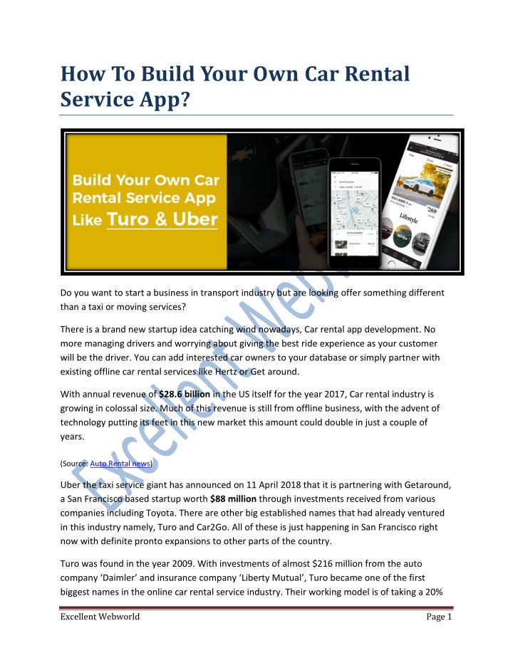 how to build your own car rental service app n.