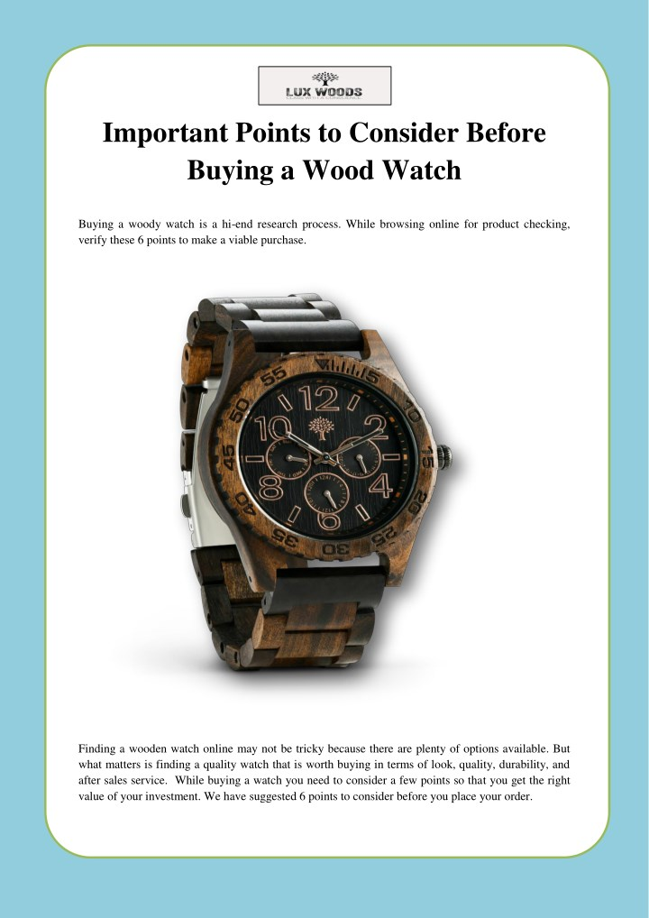 Ppt Important Points To Consider Before Buying A Wood Watch