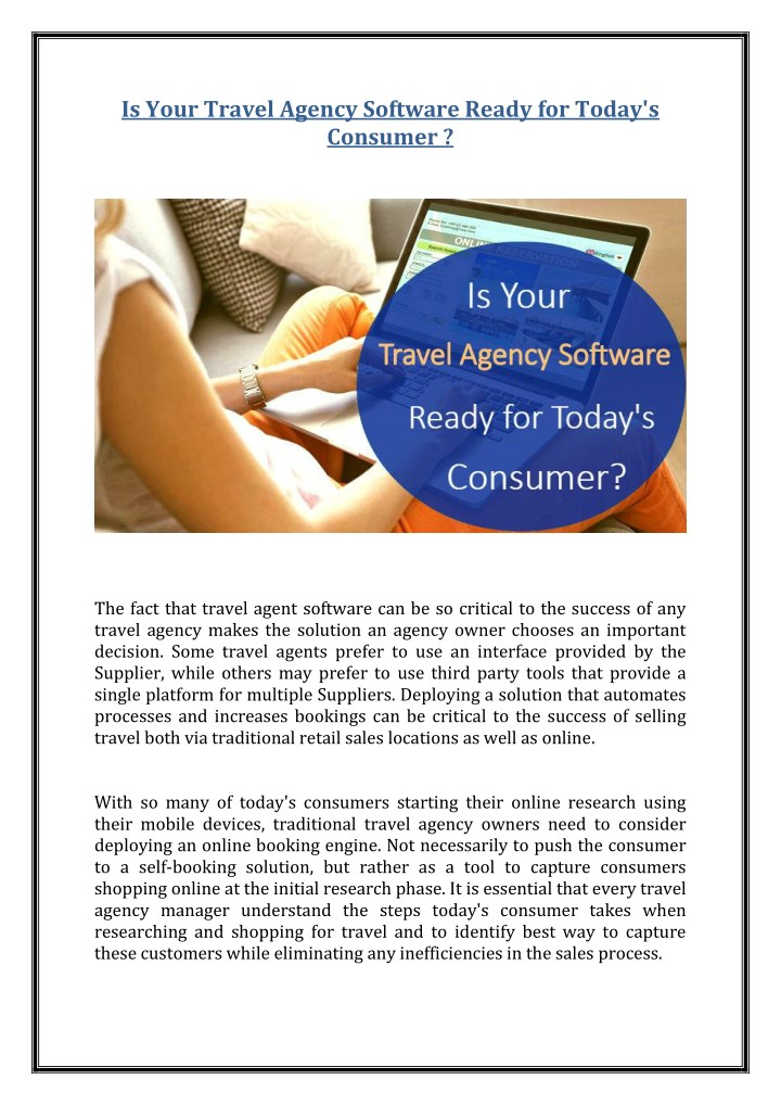is your travel agency software ready for today n.