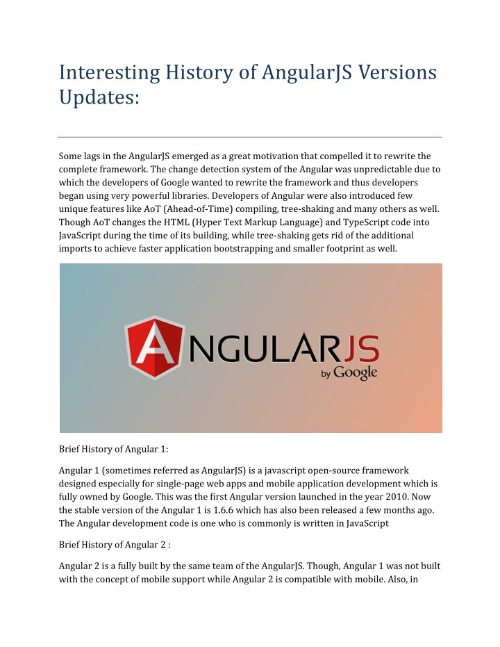 interesting history of angularjs versions updates n.