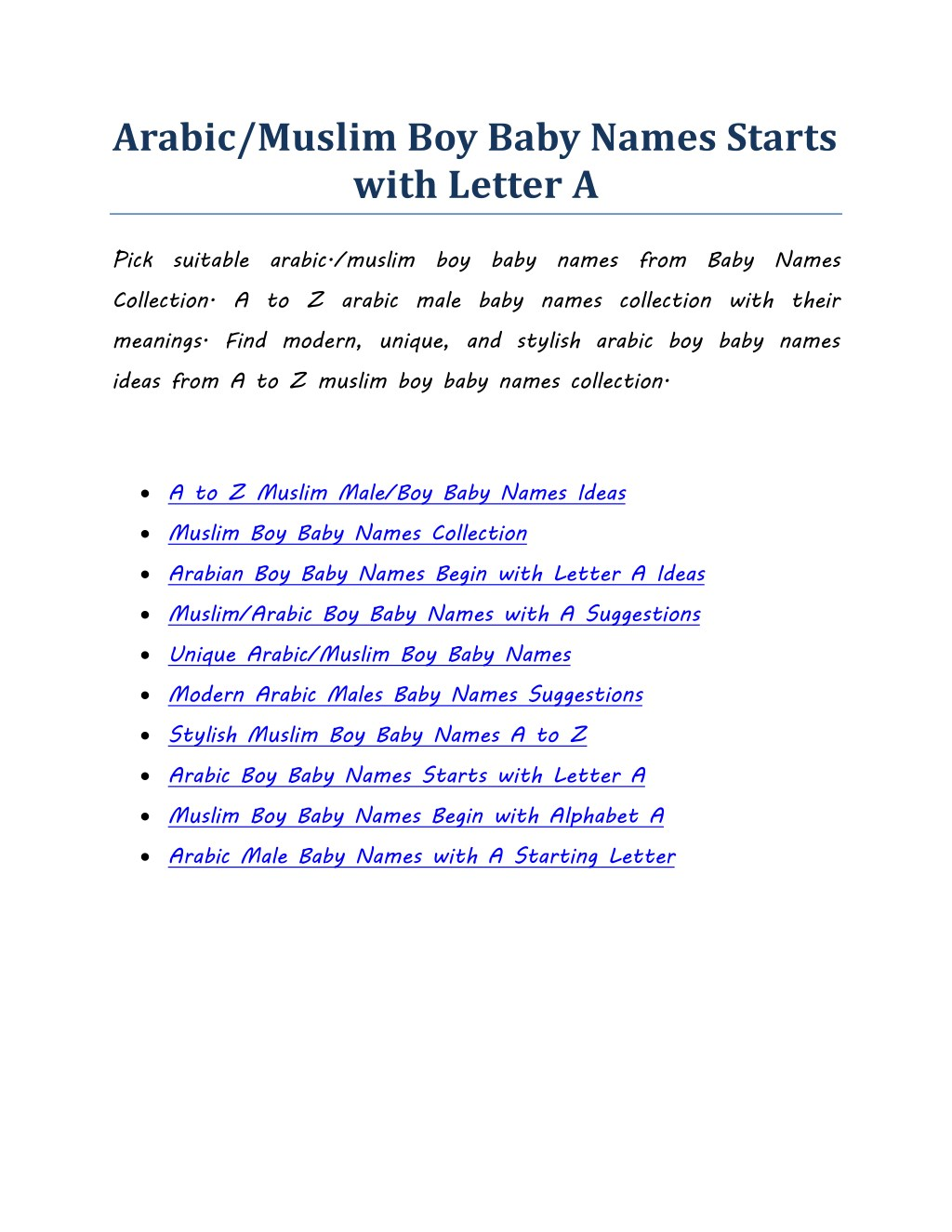 PPT - Arabic/Muslim Boy Baby Names Starts with Letter A