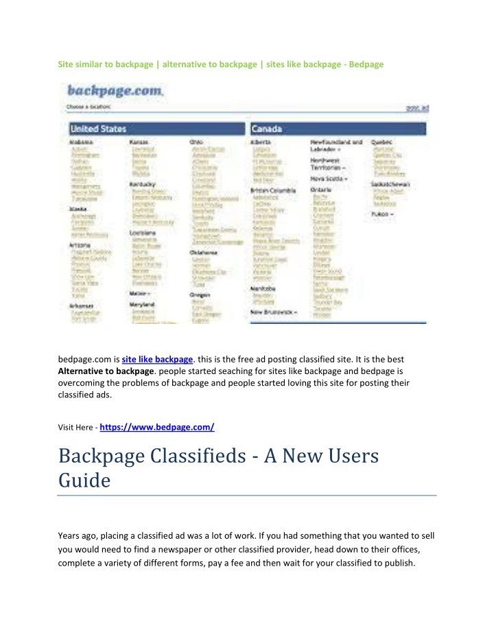 classifieds like backpage