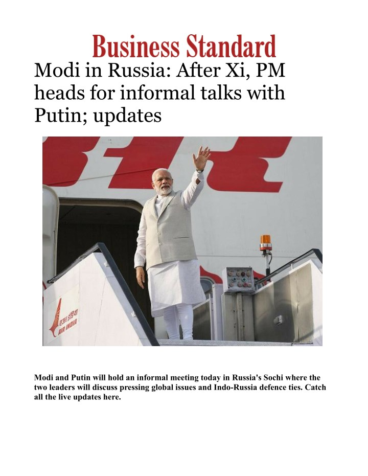 modi in russia after xi pm heads for informal n.