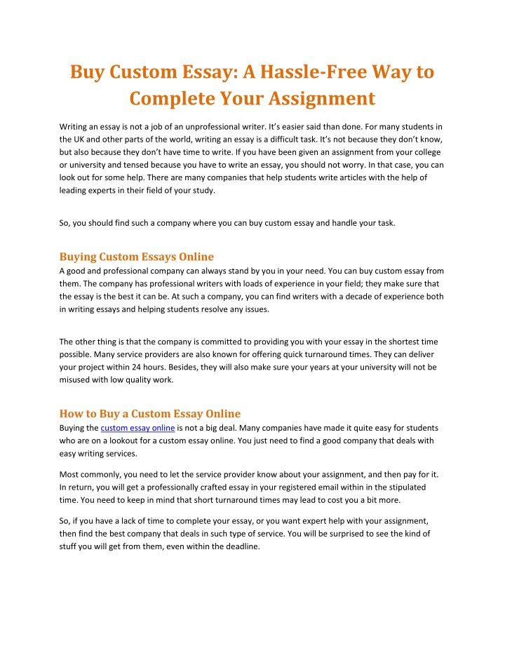 Ppt  Buy Custom Essay A Hasslefree Way To Complete Your  Buy Custom Essay A Hasslefree Way To Thesis Statement For Essay also Synthesis Essay Topic Ideas  Othello Essay Thesis