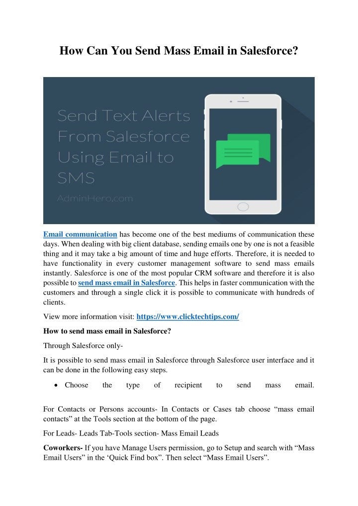 PPT - How Can You Send Mass Email In Salesforce? PowerPoint