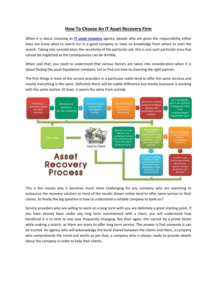 how to choose an it asset recovery firm n.