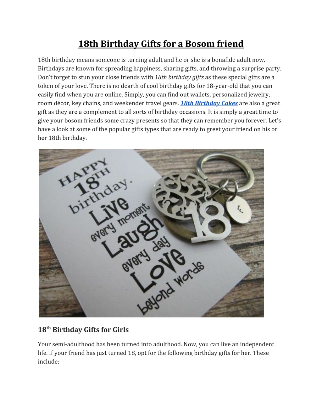 18th Birthday Gifts For A Bosom Friend N
