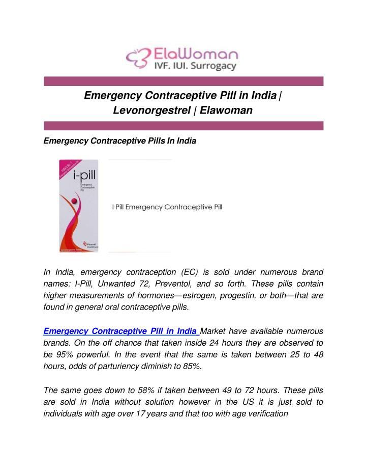PPT - Emergency Contraceptive Pill in India | Levonorgestrel ...