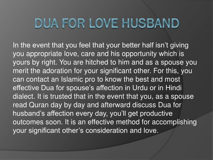 PPT - Dua for Love, Protection and Health of Husband PowerPoint