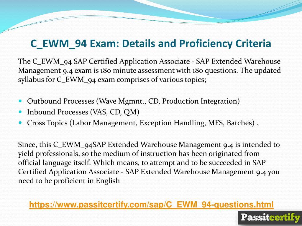 PPT - C_EWM_94 Web Intelligence SAP May 2018 Updated Exams
