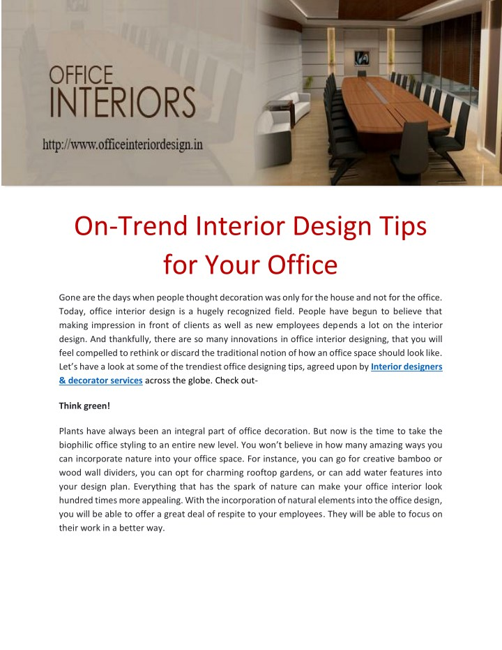 on trend interior design tips for your office n.