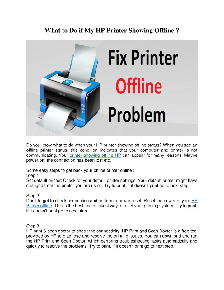 PPT - What to Do if My HP Printer Showing Offline