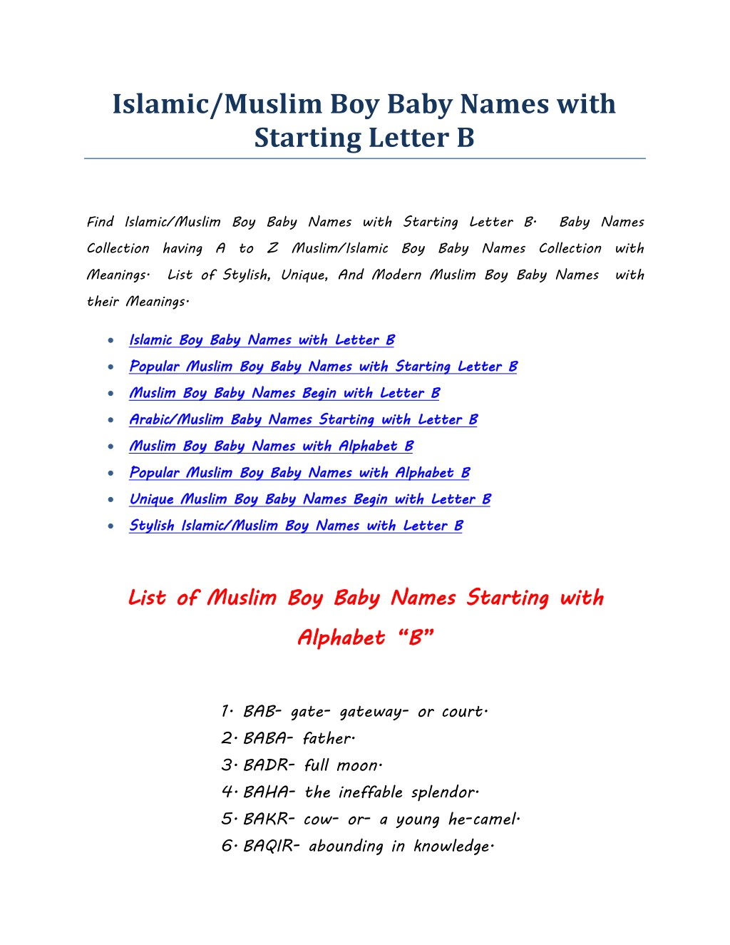 PPT - Islamic/Muslim Boy Baby Names with Starting Letter B PowerPoint  Presentation - ID:7881291