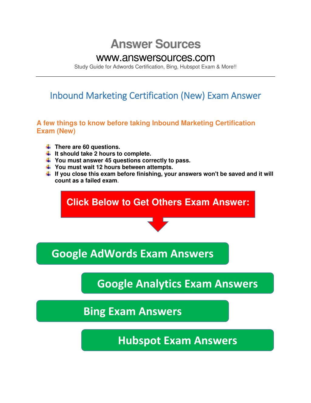 Ppt Inbound Marketing Exam Answers Powerpoint Presentation Id
