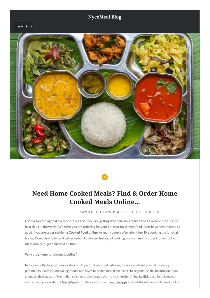 Ppt Need Home Cooked Meals Find Order Home Cooked Meals Online