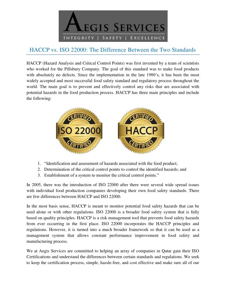 haccp vs iso 22000 the difference between n.