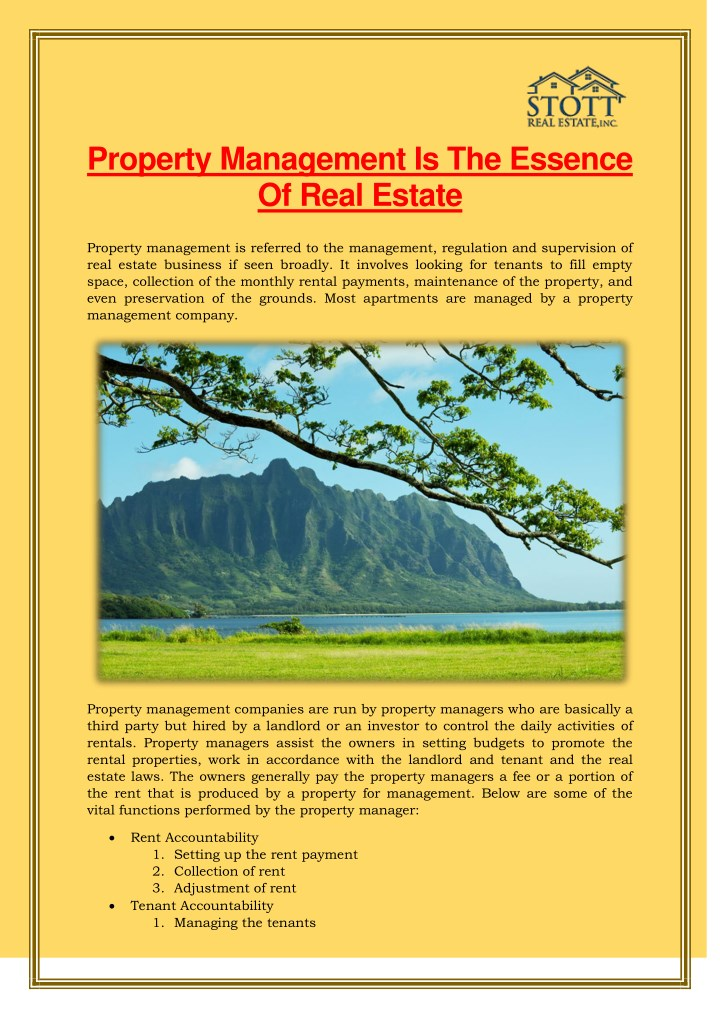 property management is the essence of real estate n.