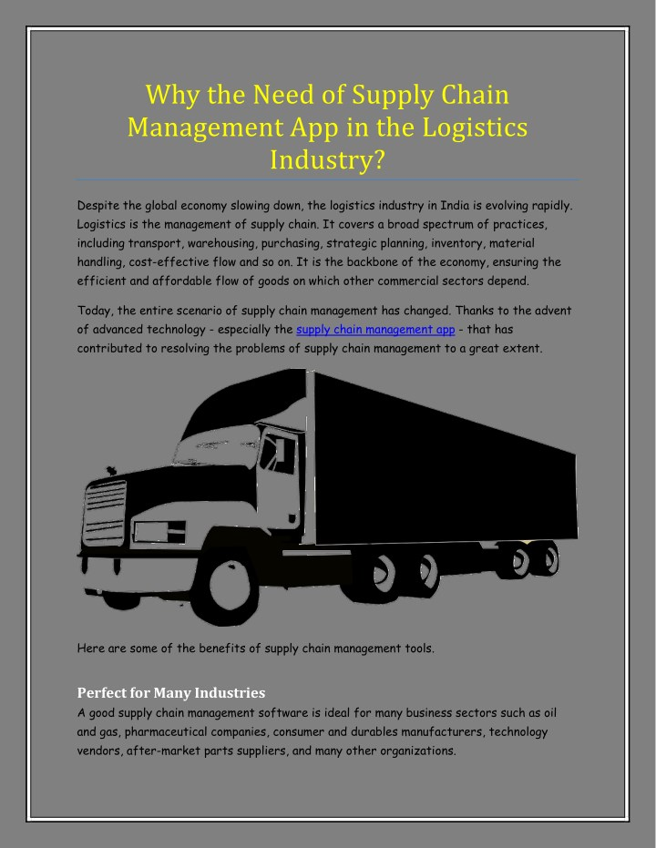 PPT - Why the Need of Supply Chain Management App in the