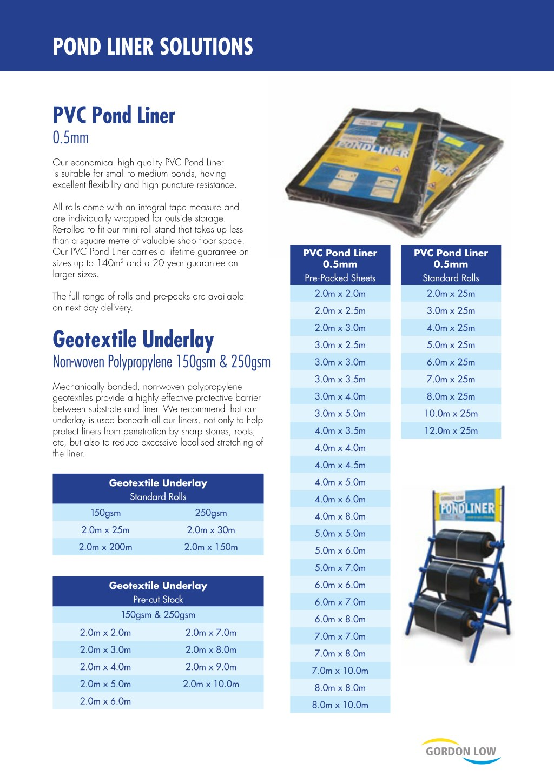 GORDON LOW GREENSEAL 0.75mm EPDM 2.5m X 3m POND LINER WITH LIFETIME GUARANTEE