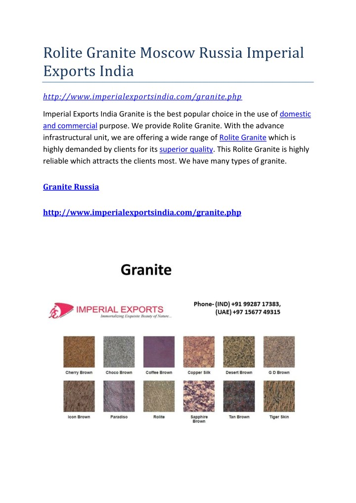 rolite granite moscow russia imperial exports n.