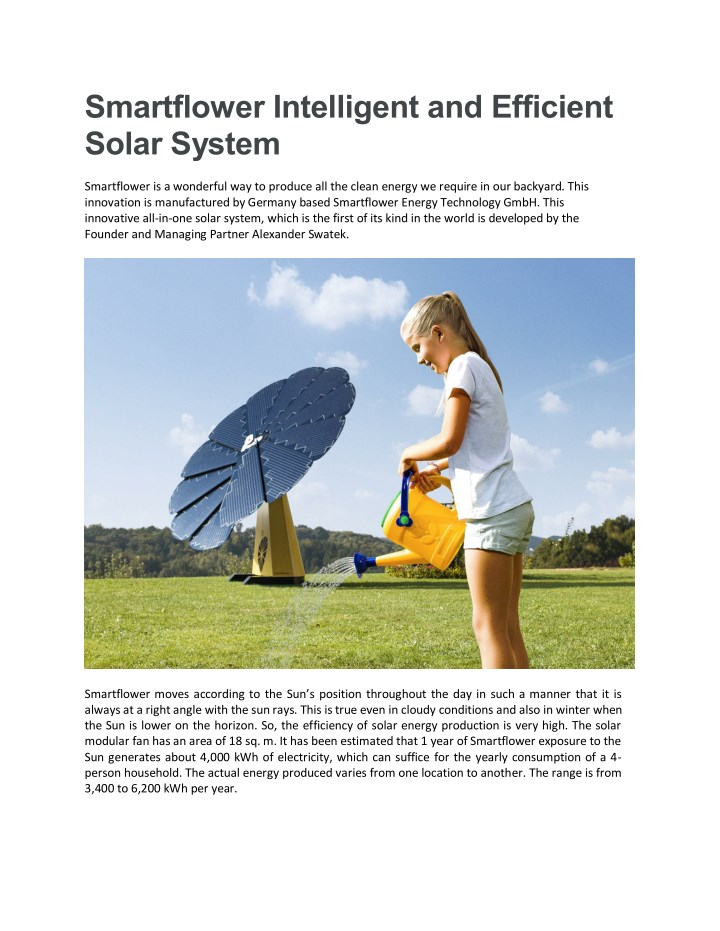 PPT - Smartflower Intelligent and Efficient Solar System PowerPoint