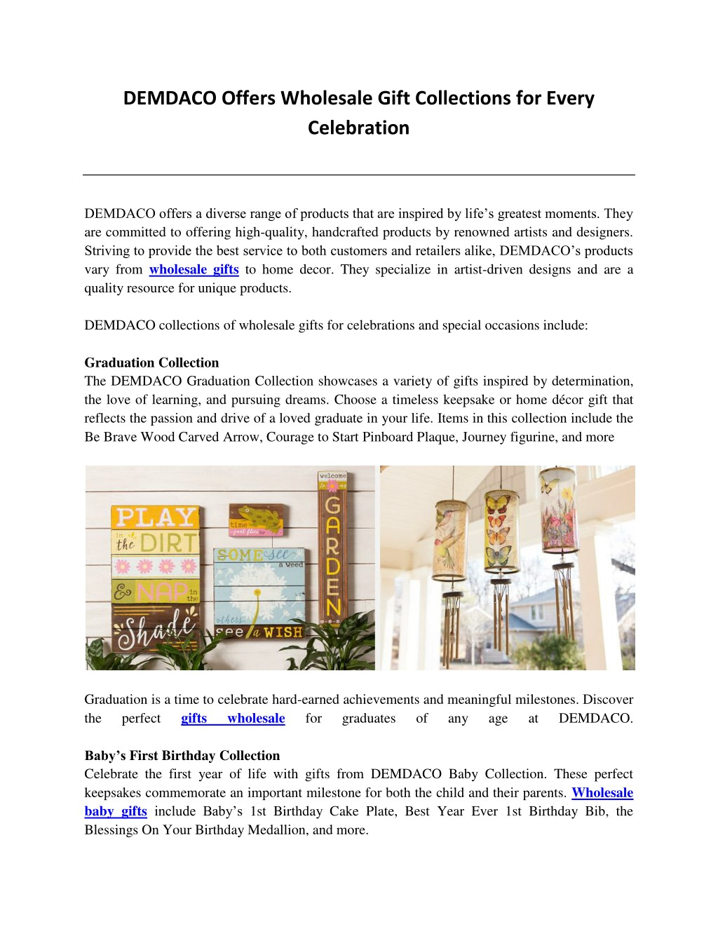 DEMDACO Offers Wholesale Gift Collections For Every Celebration    PowerPoint PPT Presentation