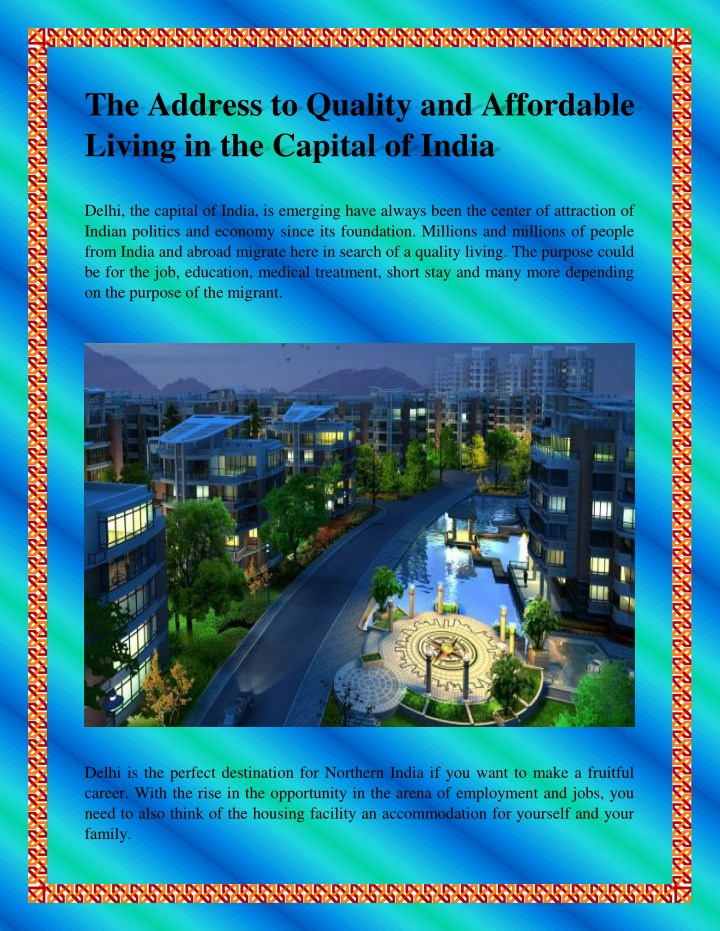 the address to quality and affordable living n.